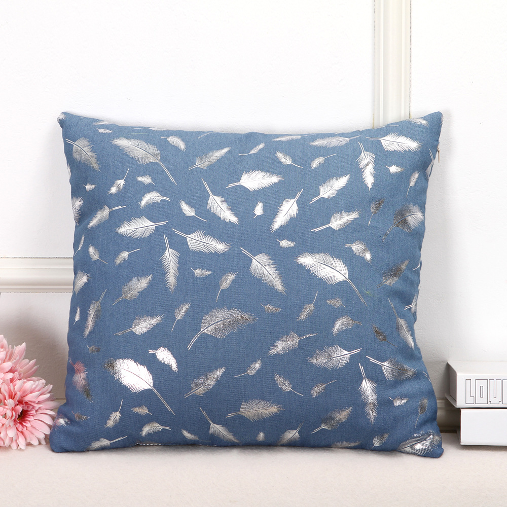 Best sell  stock classic modern style solid color feather embroidery pattern cushion cover