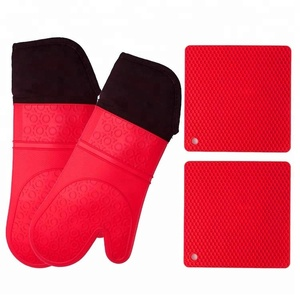 Heavy Duty Silicone Oven Mitts and Potholders Set SW-KG310