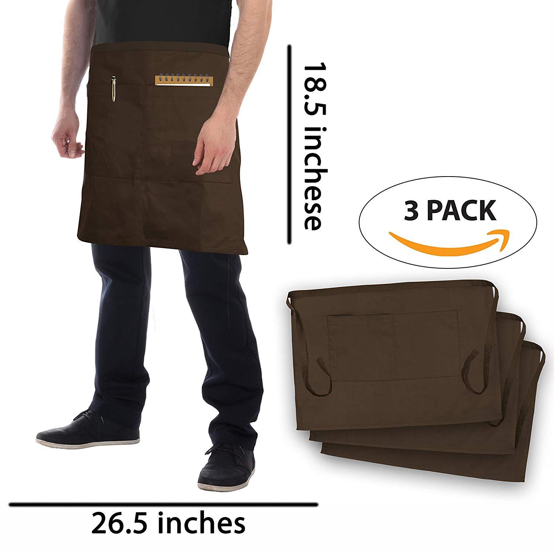 GOCINAN Brown Short Waist Apron (Set of 3, Brown, 2 Large Pockets, 18.5×26.5 INCHES) - Durable, Adjustable, Comfortable Short Waist Aprons-for Bartender, Waiter, Waitress, Coffee shop, Restaurant