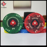 ceramic chips for casino customized professional tournament ceramic chip 55mm round ceramic poker chips with UV printing
