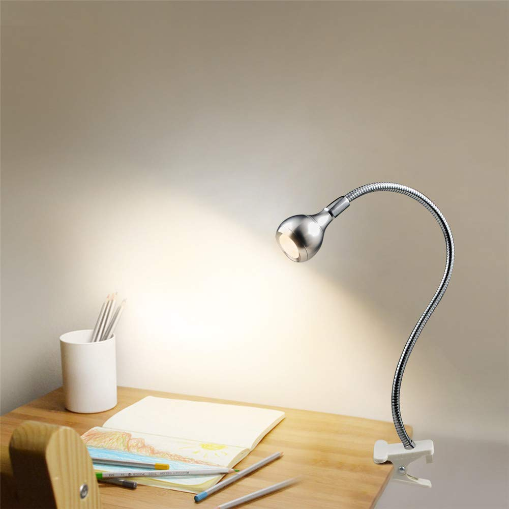 USB LED Table Lamp, 1 W Flexible LED Desk lamp with Holder Clips, AIMENGTE 360° Free Bending Soft Light Eye-Caring Bed Study Reading Book Lamp Night Lights for Students, Workers. (Silver, Warm White)