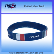 Low MOQ stock silicone wristbands France flag silicone bracelet