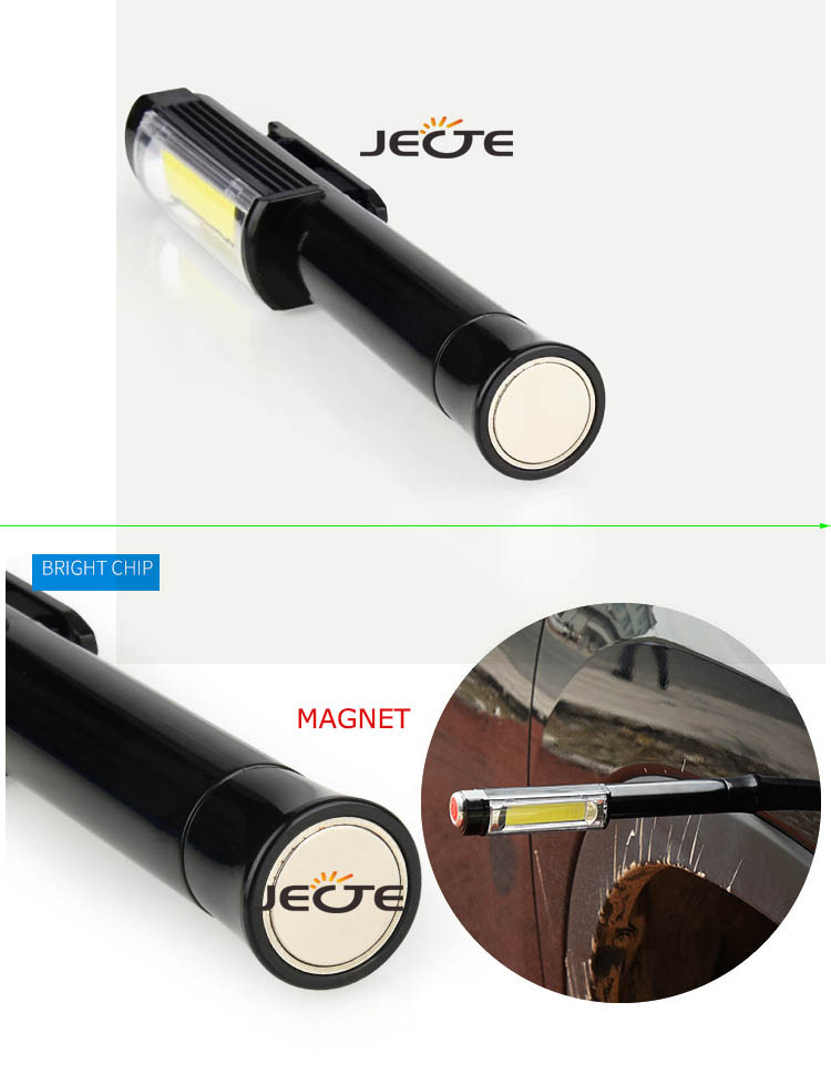 Amazon Hot Super Bright Portable COB LED Hand Clip Penlight Flashlight battery powered work pen torch light