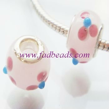 Wholesale Pink Murano Glass Beads 925 stamped