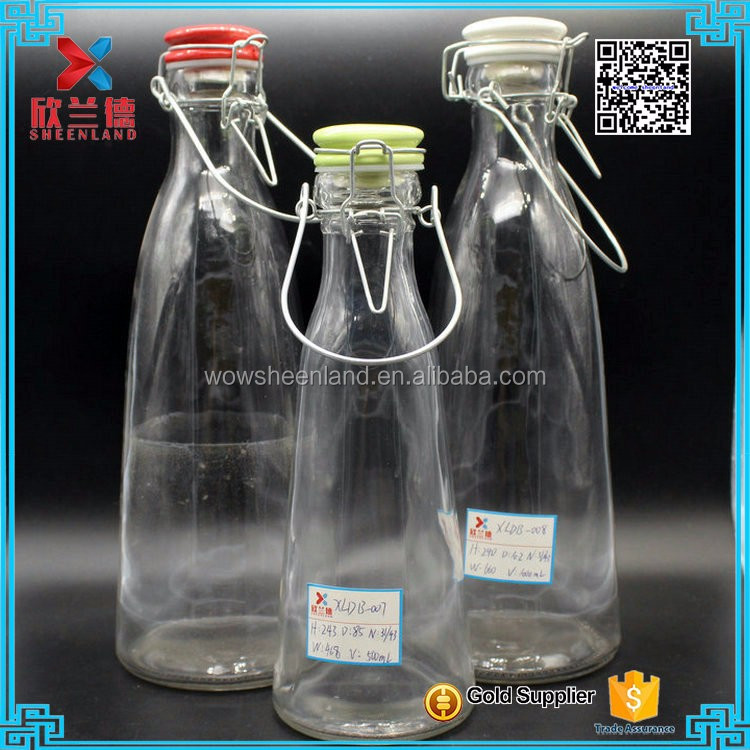 2016 500ml 1000ml refillable clip ceramic swing top lid glass bottle for milk wholesale