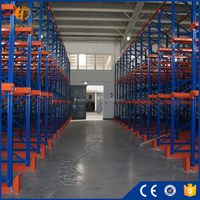 High density storage pallet flow racking system