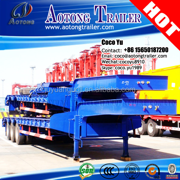 China gooseneck heavy duty transporting tractor truck trailer 2 or 3/4 axles payload 60ton lowbed trailer