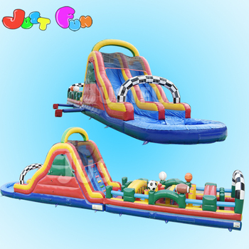 Best quality and very funny and beautiful cheap giant inflatable obstacle course with slide for kids n adults sale