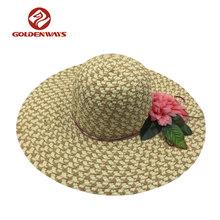 Tinggi Busana Wanita Pantai Matahari Topi Jerami Kertas Dengan bunga  Pinggiran Lebar pita 3d138f66b3