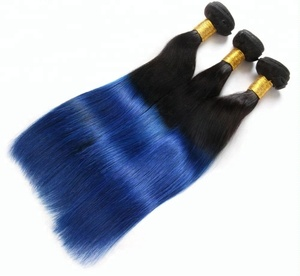 Chisonhair Ombre #1B/Blue Yaki Straight hair weaves Double Long Weft Sew in Real Human Hair Extensions