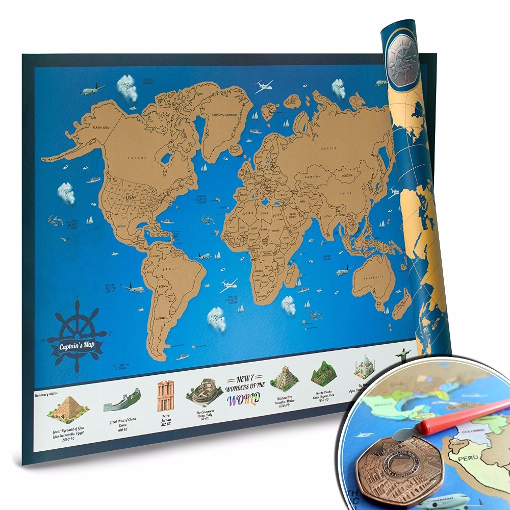 Scratch Off World Map With Us States.Scratch Off World Map With Us States Tracking Poster For Travelers