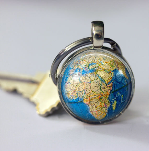 Globe home keychain women or man world map accessoiries silver or globe home keychain women or man world map accessoiries silver or brass key chain sciox Images