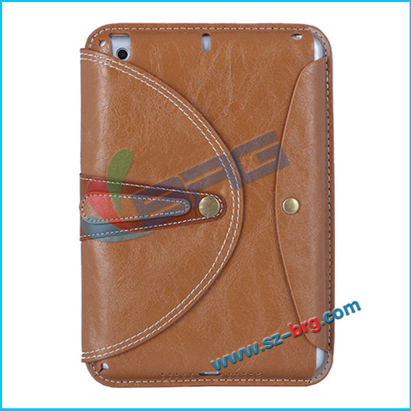 BRG- Khaki coror Book Style Flip Leather Case for ipad mini2 ,Luxury Stand Wallet Smart Cover for Ipad Mini 2