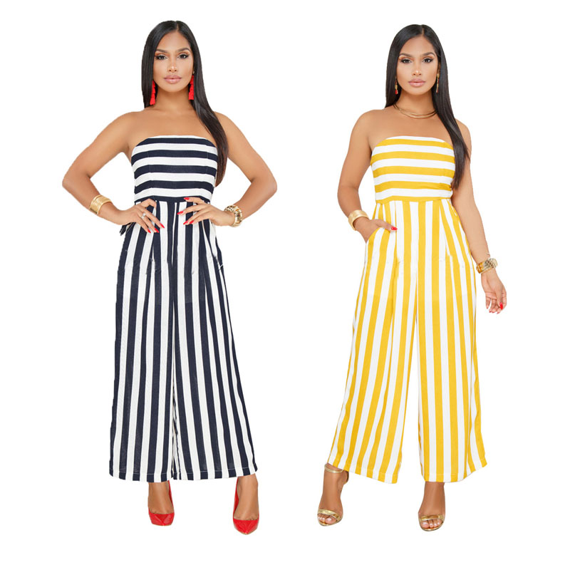 97609a98ec42 Fat Women Strapless Sexy Striped Wide Leg Party Jumpsuit - Buy ...