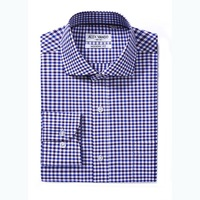 OEM high quality slim fit cotton plaid fabric dress men office shirts