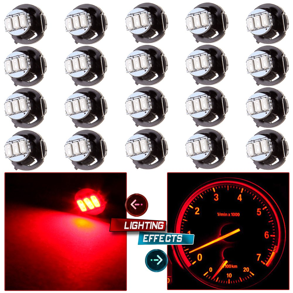 CCIYU 20 Pack T4/T4.2 Red Neo Wedge 3LED A/C Climate Control Light Bulbs For Caravan 1998-2001 Acura Integra 2004-2011 Chevrolet Colorado