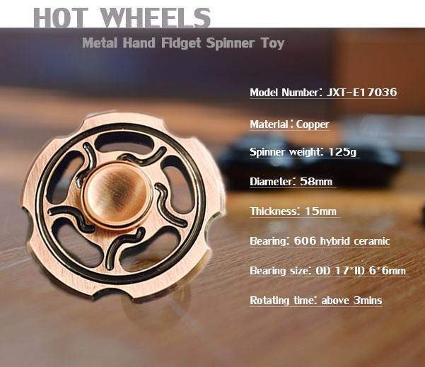 Custom Logo Copper Hand Fid Spinner Toy Promotional Gift