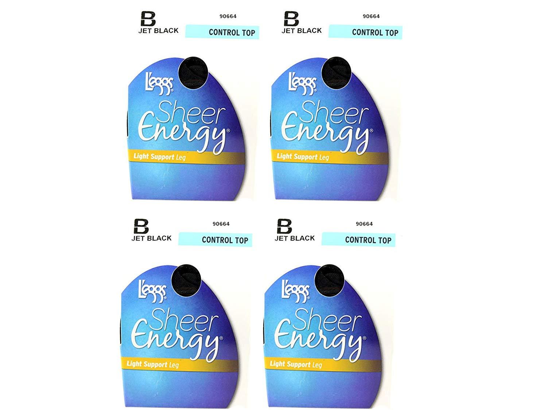 21a6f28b2e6 Lot of 4 L eggs sheer energy control top B jet black women clothing hosiery