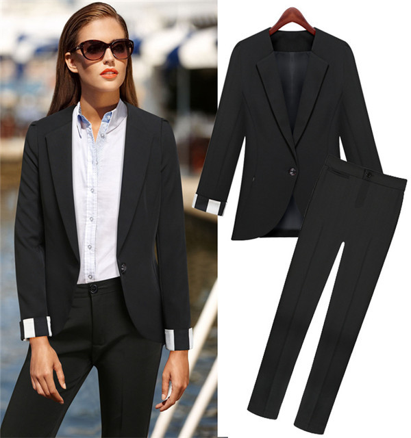 Wholesale Women black long pants suits office formal wear suits ...