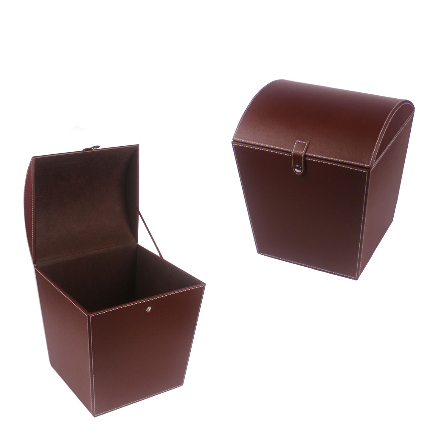 Handmade round faux leather waste bin for household with lip