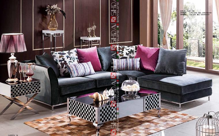purple colour fabric sofa, fabric sofa turkey, fabric l-shape sofa G175-