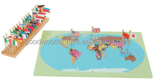 montessori ducatifs g ographie hampe de drapeau carte du monde avec des drapeaux puzzles jeux. Black Bedroom Furniture Sets. Home Design Ideas