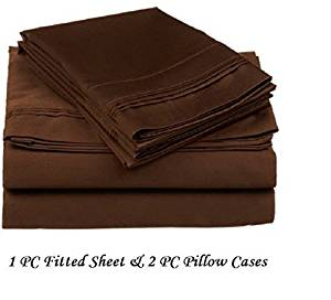 "Ethereal Bedding 300-Thread-Count Egyptian Cotton Super Soft Extra Deep Pocket 3-Pieces (1 PC Fitted Sheet + 2 PC Pillowcases) King/Eastern King Solid CHOCOLATE Fit Up to 21"" inches Deep Pocket Fully Elastic All Around"