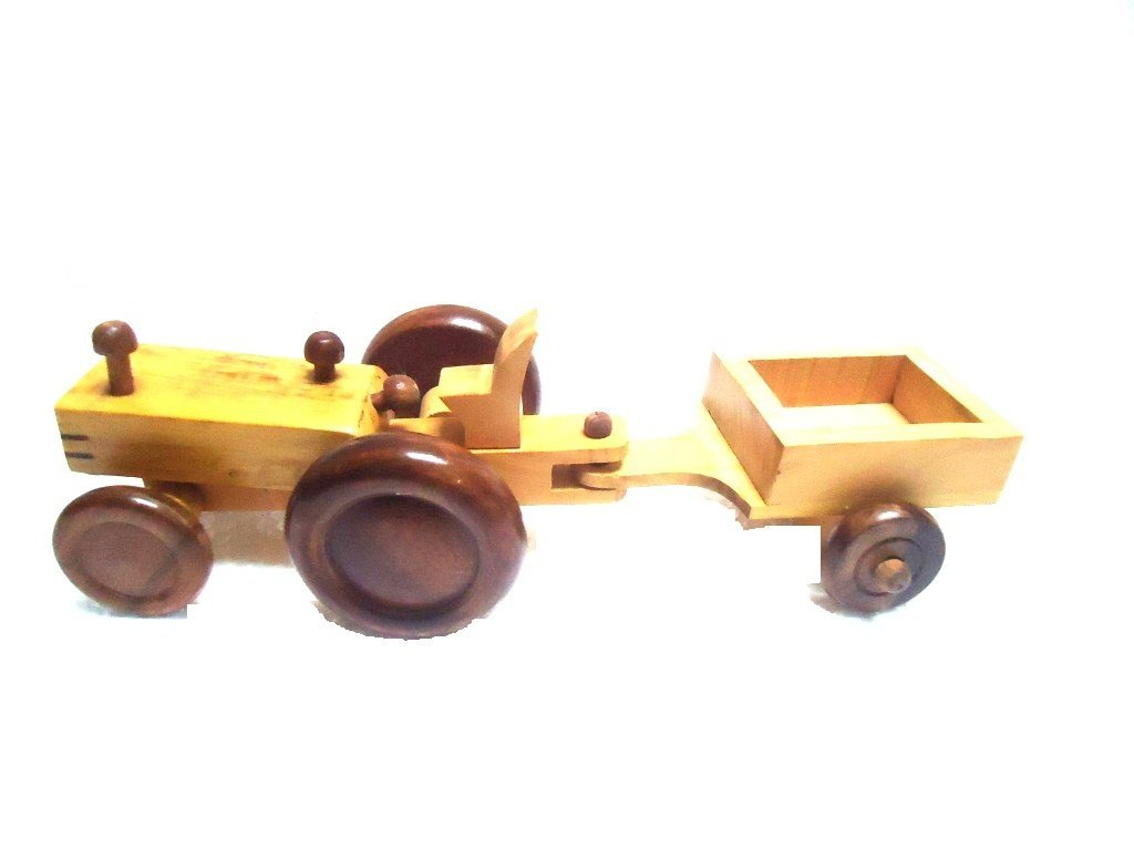 Desi Karigar Beautiful Wooden Tractor Trolley Moving Toy