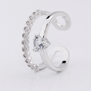 pretty crystal glass beads adjustable finger rings jewelry women