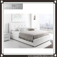2016 Chinese bedroom furniture leather bed frame with drawers