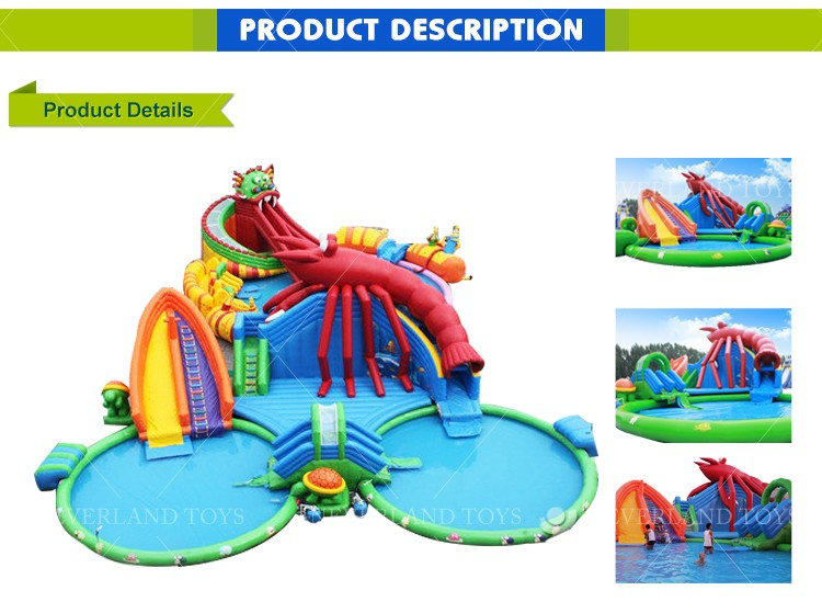 Hot sale big inflatable water slides with pool for inground pools