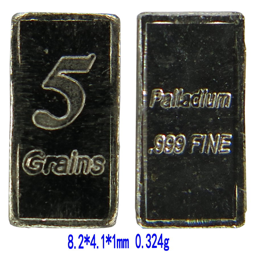 5 <strong>Grain</strong> 999 Fine Palladium Bar 8.1*4.1*1.0mm 0.324g A2