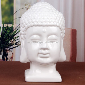 wholsale antique ceramic porcelain buddha head statue for giftware