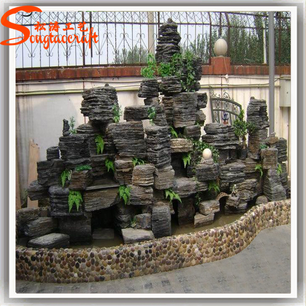 Artificial fiberglass rock waterfall home decoration fake for Decoration jardin chinois