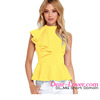 Yellow Asymmetric Ruffle Side Peplum Top sexy cool ladies tops 2016 summer