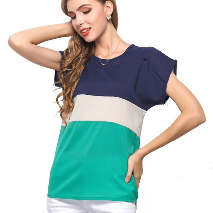 2f796c8b00c Get Quotations · Women Shirts 2015 Summer Chiffon Blouse Top Lady Patchwork  Sheer Batwing Short Sleeve Stripe Color Plus
