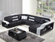 Sweden style 5 seat black leather living room love sofa set