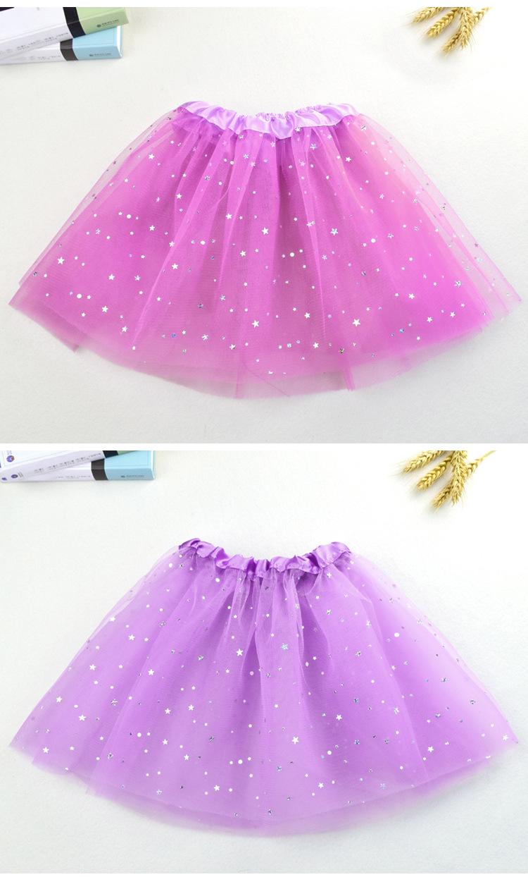 WEN Summer Baby Star Glitter Dance Tutu Skirt For Girl Sequin 3 Layers Tulle  Toddler Lace Pettiskirt Children Chiffon 2-8T 59304760f620