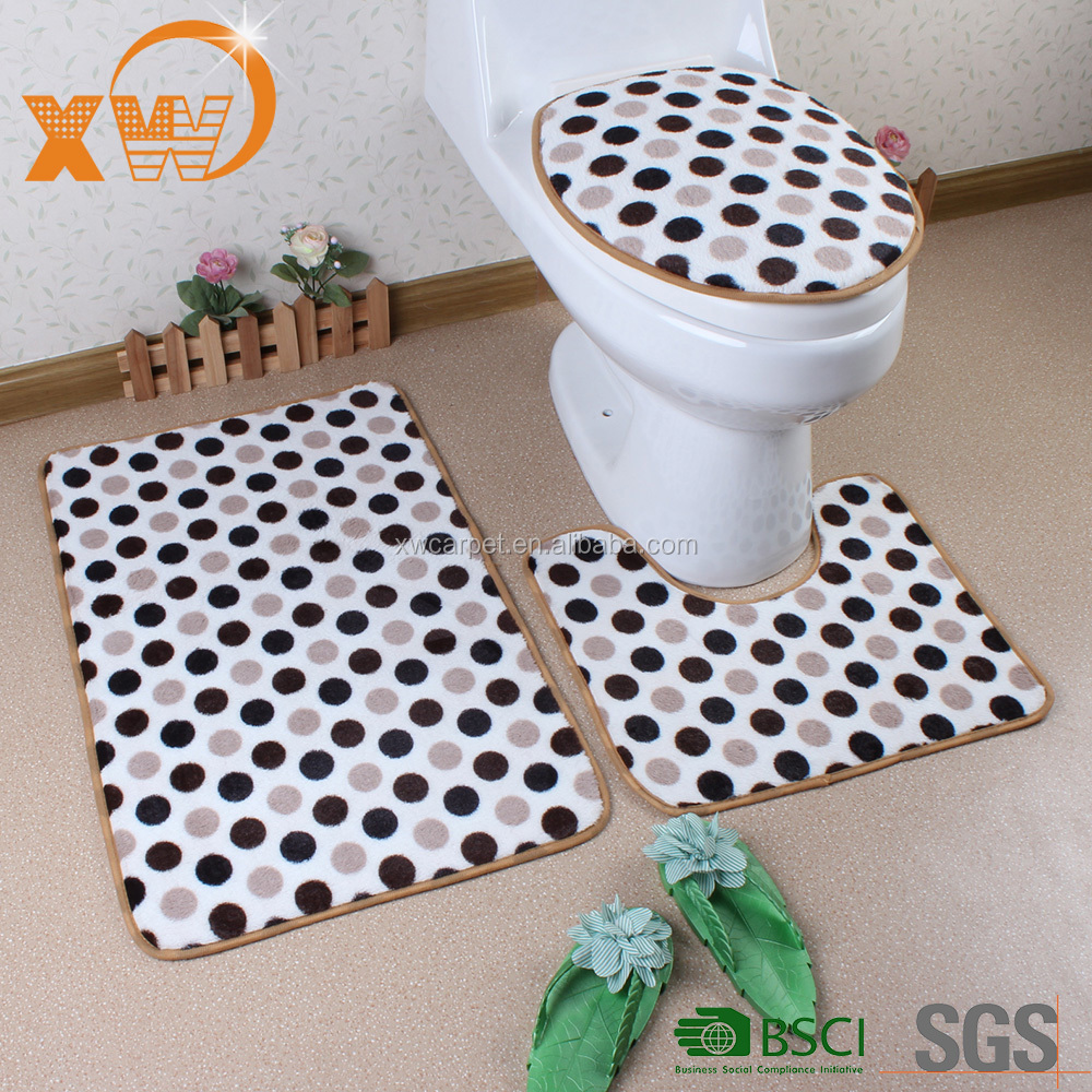 Luxury bathroom design coral fleece 3 pcs bathroom mat sets wholesale