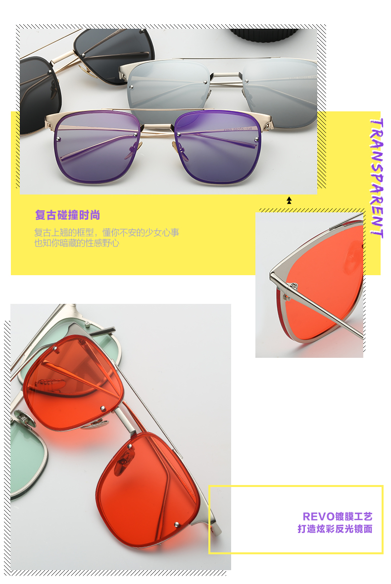 New arrived Fashion Colorful Unsix Wholesale Glasses UV400 Metal Frame Sunglasses PA863