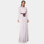 Fashion long sleeves Abaya muslim dresses with Embroidery waistband