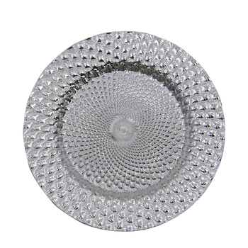 PZ01510 High quality electroplating silver peacock shiny plastic charger plates for event