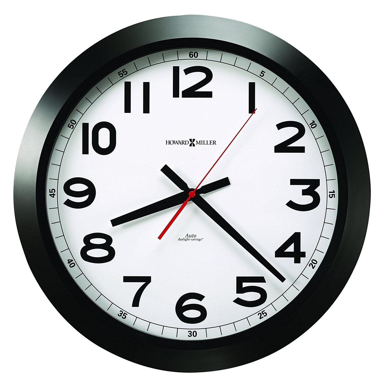 "Howard Miller Elegant Norcross Auto Daylight-Savings Wall Clock, 15-3/4"", Black (625509)"