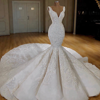 ASA-522 Hot Sale Appliqued Sequined Long Tail 2019 Mermaid Dress Wedding Dress Bridal Gown