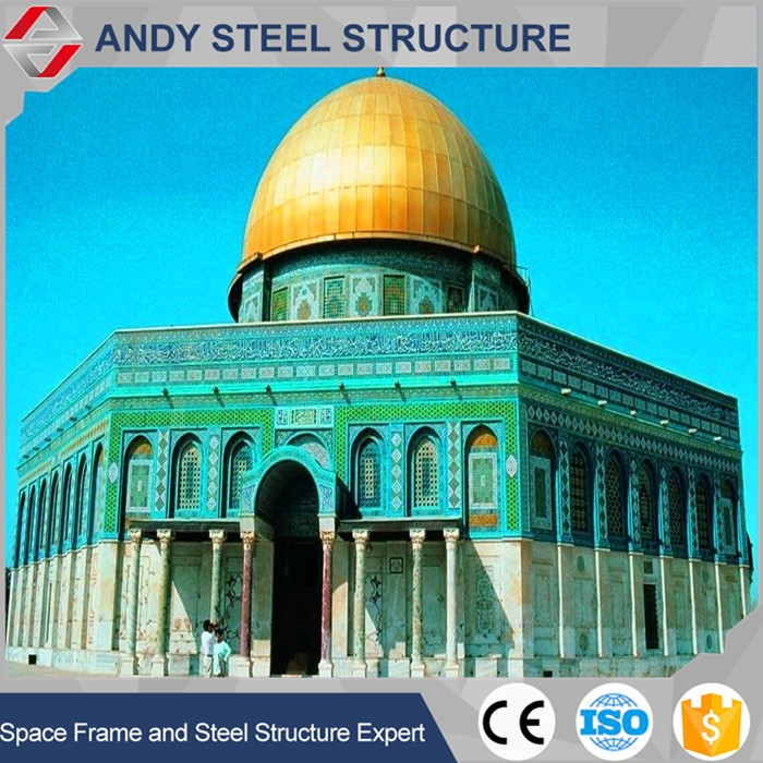 structure steel fabrication mosque dome long span steel tempered glass dome,