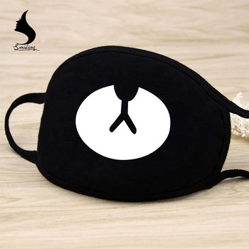 100% Cotton Cute Cartoon Printed Dustproof Mouth Mask Muffle Face Mouth Mask Black