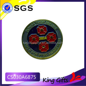 Soft enamel walk for PTSD awareness gold challenge coin with flower logo