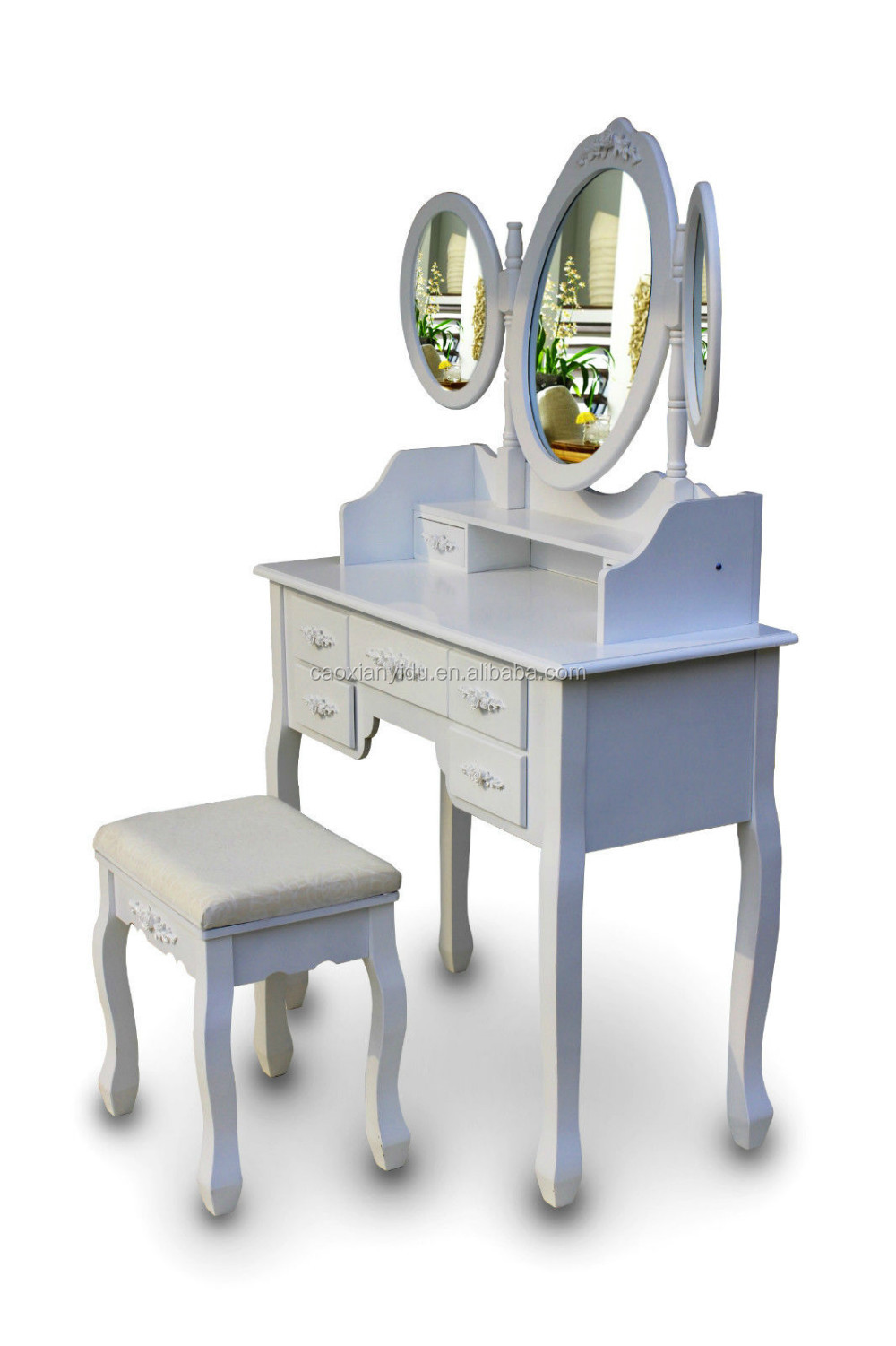 2016 Hot Sale Triple Mirrors Seven Drawers White Dressing Table