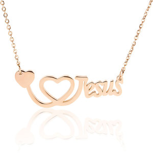 Marlary Women Jewelry Valentine's Day Best Gift I Love Jesus Heart Shaped Pendants Love Letter Necklaces