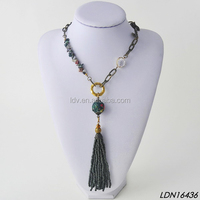 Dark Gray Tone Seed Bead Tassels Stone Charm Fabric Cover Thick Chain Big Ring Dangle Necklace Women Fashion Jewelry